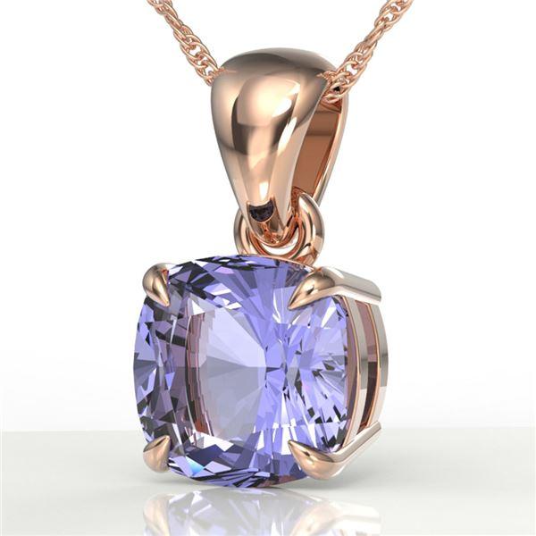 2 ctw Cushion Cut Tanzanite Designer Necklace 14k Rose Gold - REF-34X3A