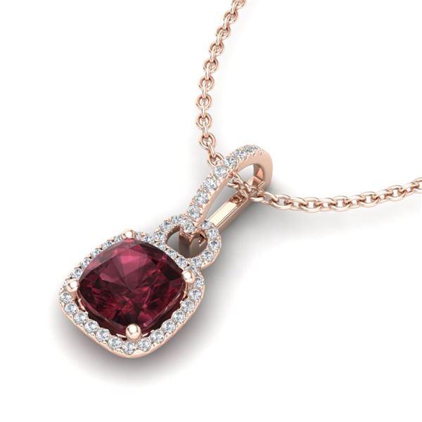 3.50 ctw Garnet & Micro VS/SI Diamond Necklace 14k Rose Gold - REF-39N9F