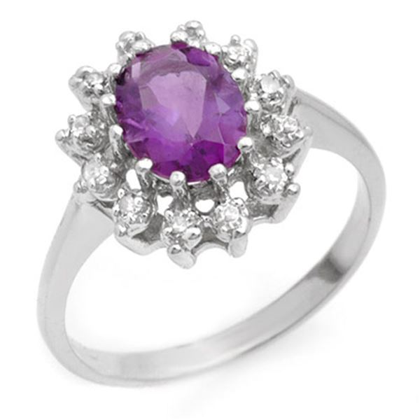 1.19 ctw Amethyst & Diamond Ring 10k White Gold - REF-23K9Y