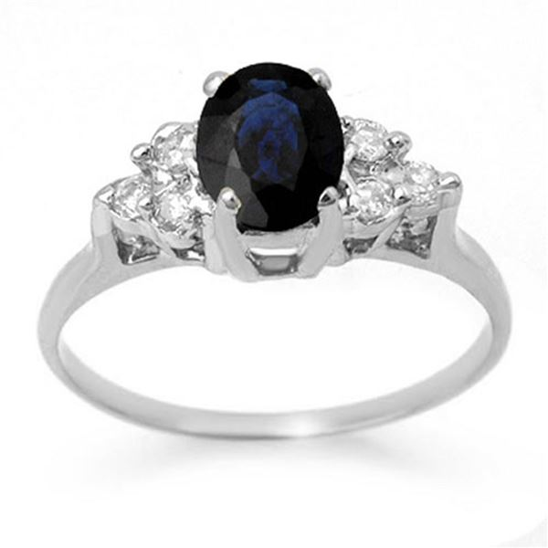 1.41 ctw Blue Sapphire & Diamond Ring 18k White Gold - REF-31G4W