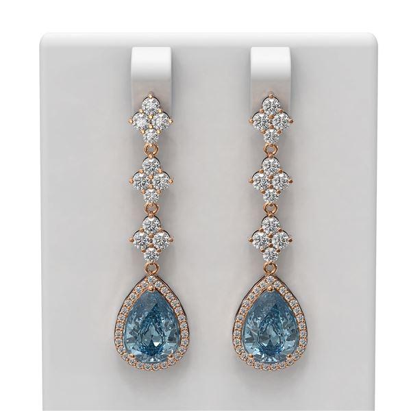 7.62 ctw Blue Topaz & Diamond Earrings 18K Rose Gold - REF-211M5G