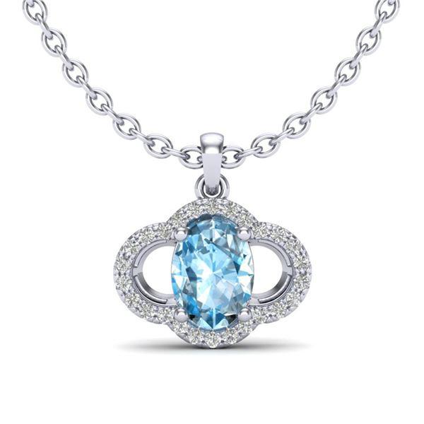 2 ctw Sky Blue Topaz & Micro Pave VS/SI Diamond Necklace 10k White Gold - REF-22M5G