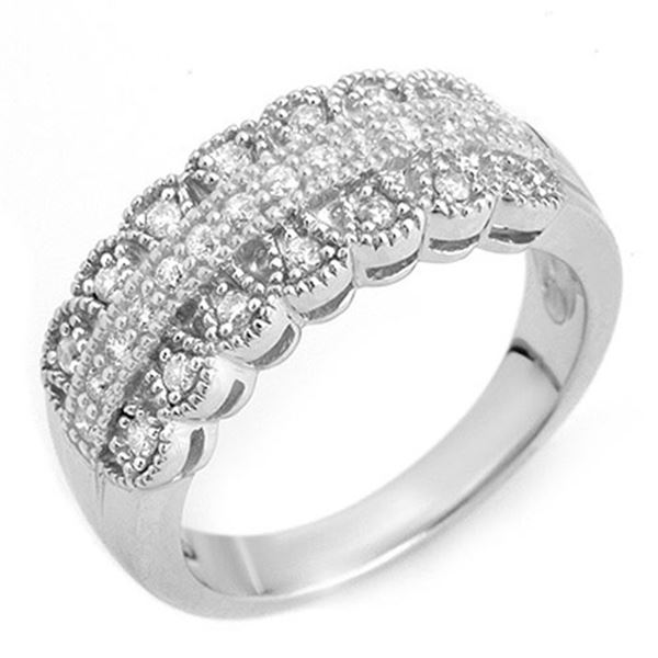0.50 ctw Certified VS/SI Diamond Ring Solid 14k White Gold - REF-48Y3X