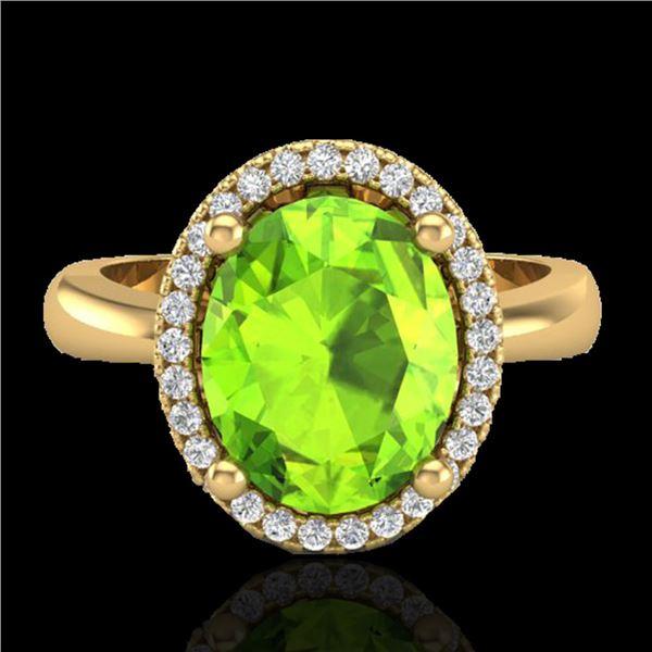 2.50 ctw Peridot & Micro Pave VS/SI Diamond Ring 18k Yellow Gold - REF-42M4G