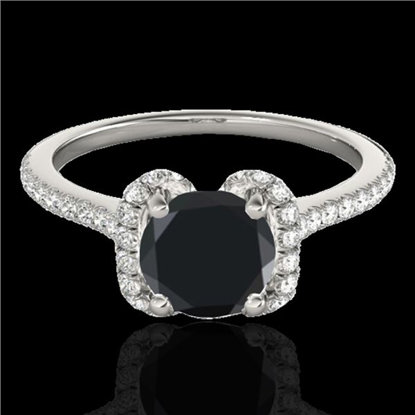 1.33 ctw Certified VS Black Diamond Solitaire Halo Ring 10k White Gold - REF-43A2N