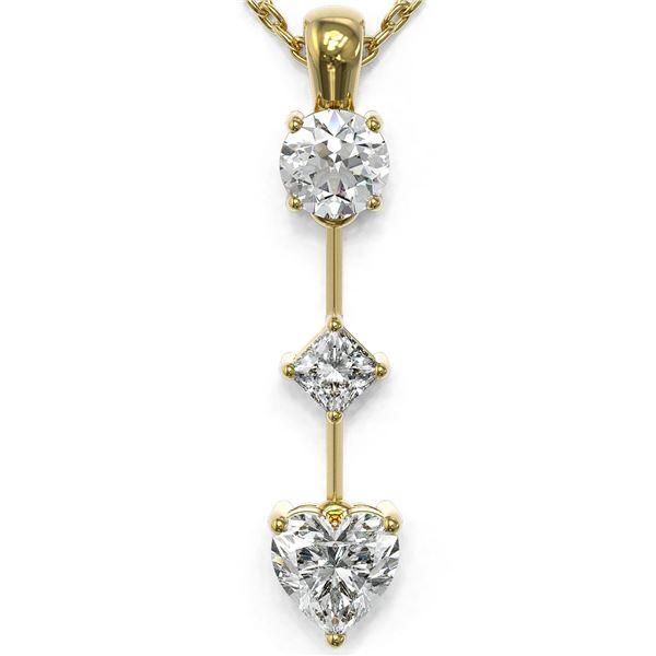 0.9 ctw Heart Diamond Designer Necklace 18K Yellow Gold - REF-149F2M