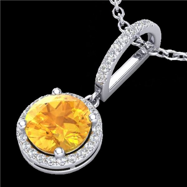 2 ctw Citrine & Micro Pave VS/SI Diamond Necklace 18k White Gold - REF-42F4M
