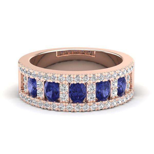 1.75 ctw Tanzanite & Micro Pave VS/SI Diamond Ring 10k Rose Gold - REF-48G5W