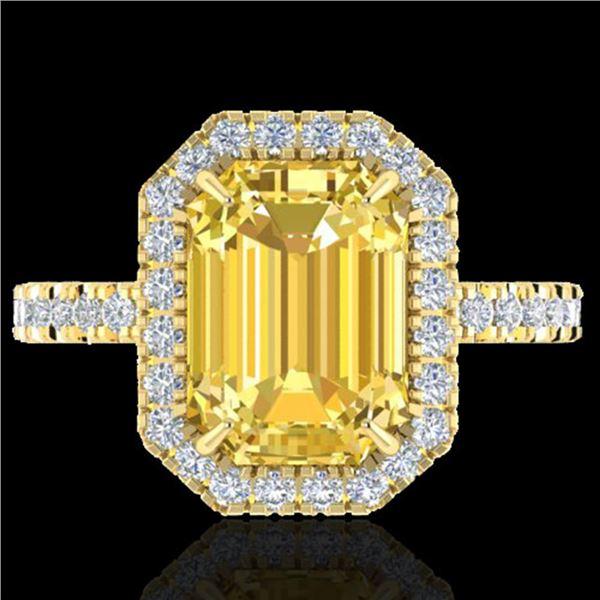 4.50 ctw Citrine & Micro Pave VS/SI Diamond Ring 18k Yellow Gold - REF-47K3Y