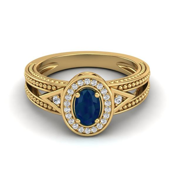 0.83 ctw Sapphire & VS/SI Diamond Halo Fashion Ring 10k Yellow Gold - REF-21R8K