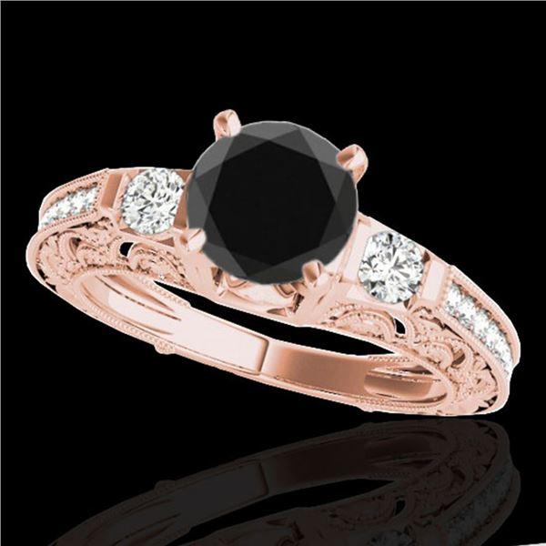 1.38 ctw Certified VS Black Diamond Solitaire Antique Ring 10k Rose Gold - REF-47N8F