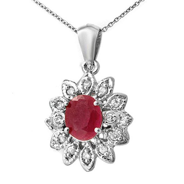 2.10 ctw Pink Sapphire & Diamond Pendant 14k White Gold - REF-45G3W