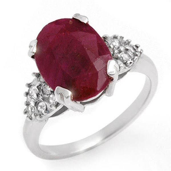 4.74 ctw Ruby & Diamond Ring 14k White Gold - REF-49F3M