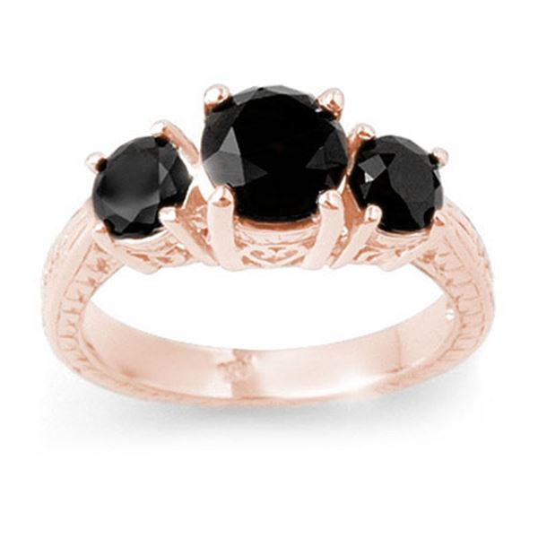 2.50 ctw VS Certified Black Diamond 3 Stone Ring 14k Rose Gold - REF-52G4W
