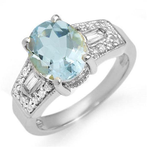 3.55 ctw Aquamarine & Diamond Ring 14k White Gold - REF-105H5R