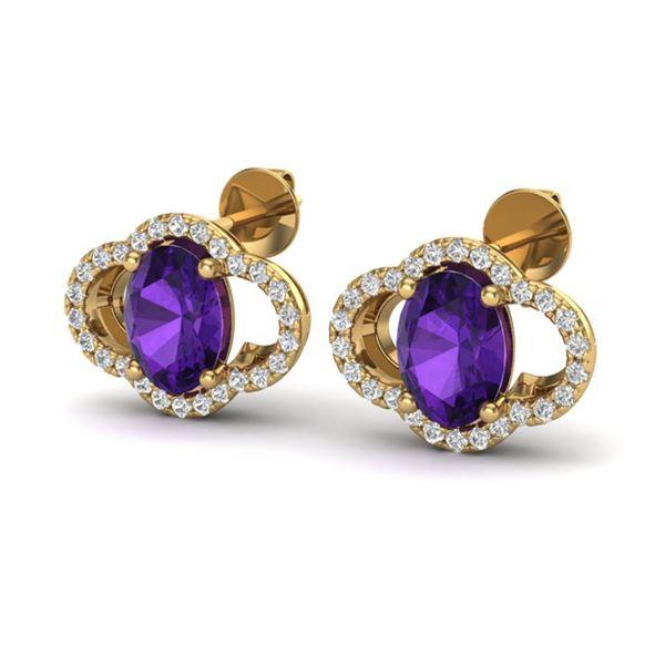 4 ctw Amethyst & Micro Pave VS/SI Diamond Earrings 10k Yellow Gold - REF-45R3K