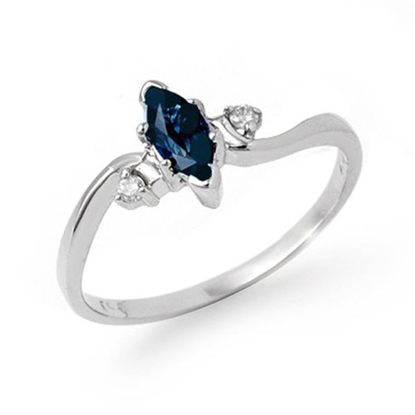 0.42 ctw Blue Sapphire & Diamond Ring 10k White Gold - REF-9A8N