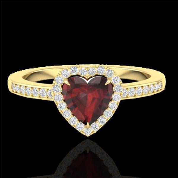 1.20 ctw Garnet & Micro VS/SI Diamond Ring Heart 14k Yellow Gold - REF-26M3G