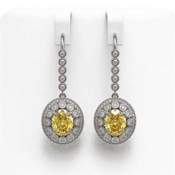 7.65 ctw Canary Citrine & Diamond Victorian Earrings 14K White Gold - REF-216Y9X