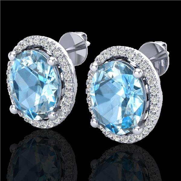 6 ctw Sky Blue Topaz & Micro VS/SI Diamond Earrings 18k White Gold - REF-55N2F