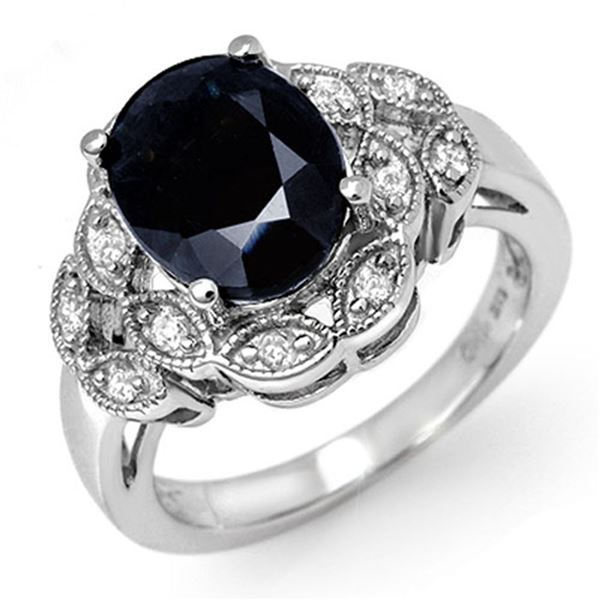 5.0 ctw Blue Sapphire & Diamond Ring 10k White Gold - REF-40W9H