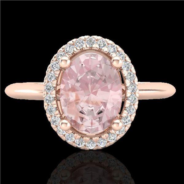 1.50 ctw Morganite & Micro VS/SI Diamond Ring Halo 14k Rose Gold - REF-39R2K