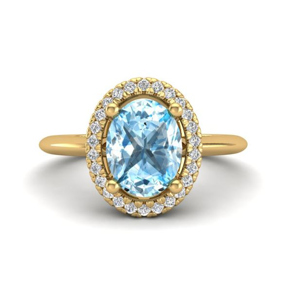 2 ctw Sky Blue Topaz & Micro VS/SI Diamond Ring Halo 18k Yellow Gold - REF-37N8F