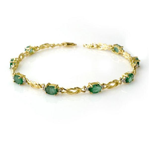 4.11 ctw Emerald & Diamond Bracelet 10k Yellow Gold - REF-39K5Y