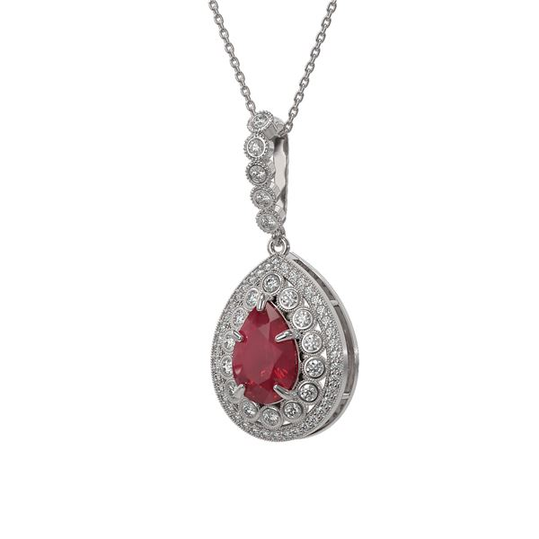 4.97 ctw Certified Ruby & Diamond Victorian Necklace 14K White Gold - REF-160Y2X