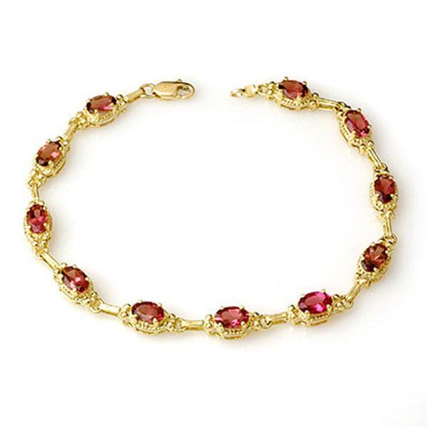 4.50 ctw Pink Tourmaline Bracelet 10k Yellow Gold - REF-87W3H