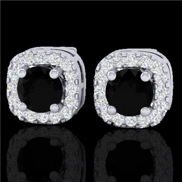 0.90 ctw Micro Pave Black & VS/SI Diamond Earrings 18k White Gold - REF-45K3Y