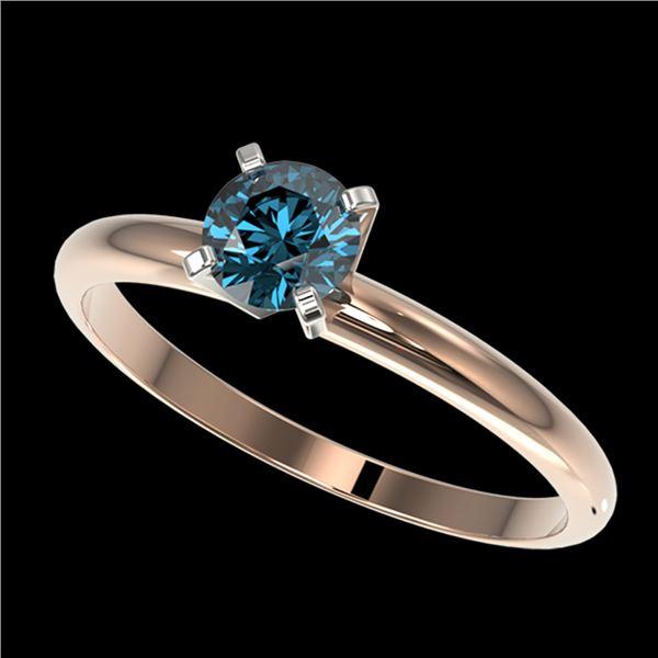 0.50 ctw Certified Intense Blue Diamond Engagment Ring 10k Rose Gold - REF-47W9H