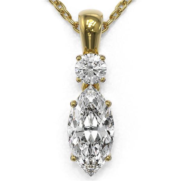 0.9 ctw Marquise Cut Diamond Designer Necklace 18K Yellow Gold - REF-139X2A