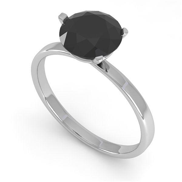 1.50 ctw Black Certified Diamond Engagment Ring Martini 14k White Gold - REF-52A5N