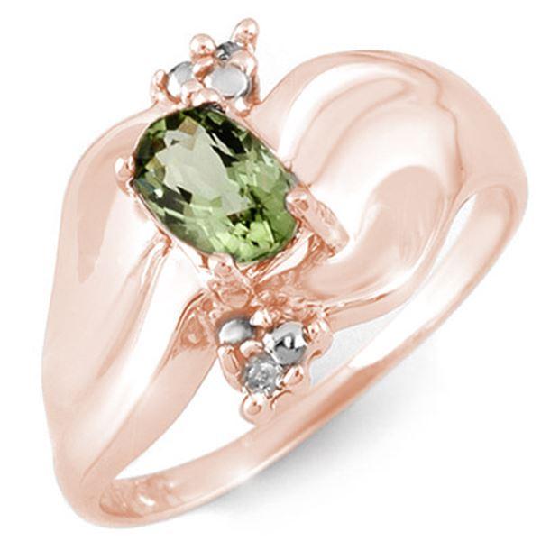 0.54 ctw Green Tourmaline & Diamond Ring 10k Rose Gold - REF-18R2K