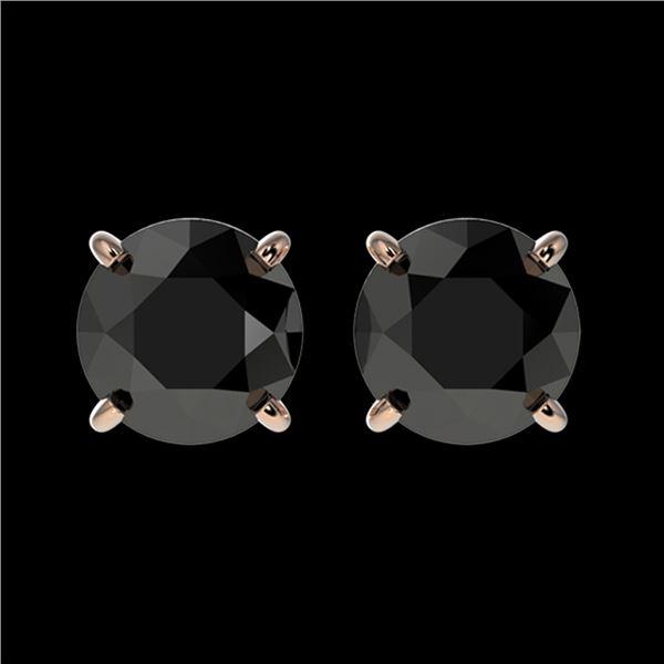 1.61 ctw Fancy Black Diamond Solitaire Stud Earrings 10k Rose Gold - REF-31A3N
