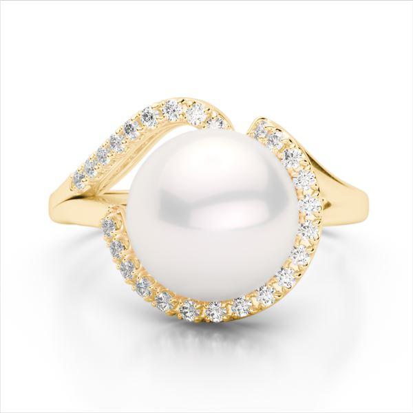 0.27 ctw VS/SI Diamond & Pearl Designer Ring 18k Yellow Gold - REF-39W3H