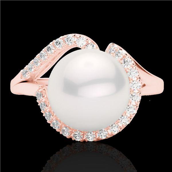 0.27 ctw VS/SI Diamond & White Pearl Ring 14k Rose Gold - REF-39Y3X