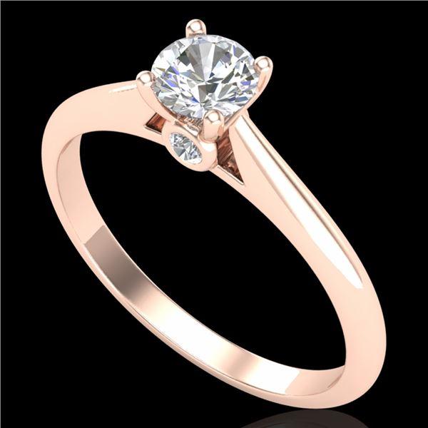 0.4 ctw VS/SI Diamond Solitaire Art Deco Ring 18k Rose Gold - REF-51W5H