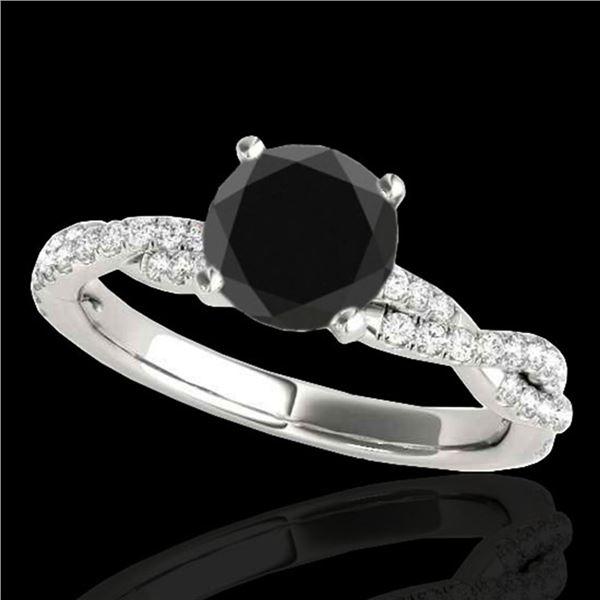 1.25 ctw Certified VS Black Diamond Solitaire Ring 10k White Gold - REF-45F8M