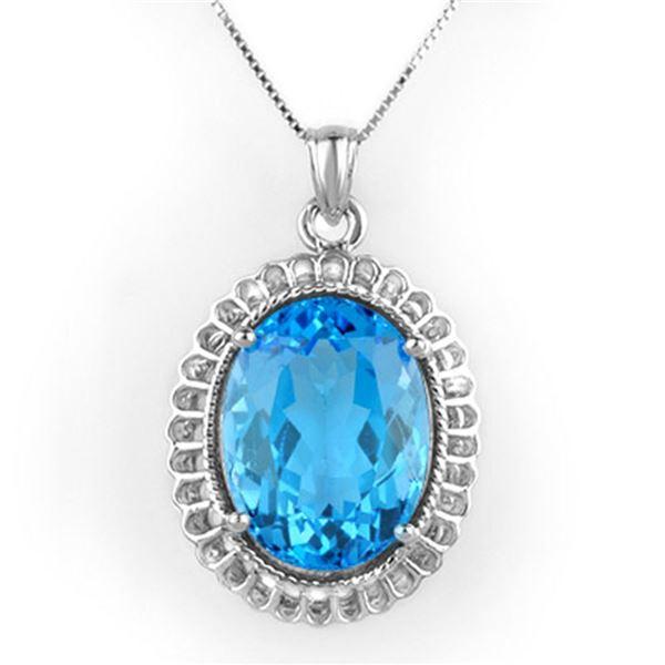 18.0 ctw Blue Topaz Necklace 14k White Gold - REF-80X2A