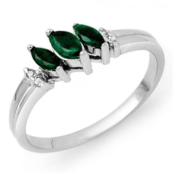 0.29 ctw Emerald & Diamond Ring 10k White Gold - REF-10K4Y