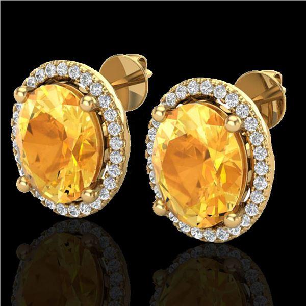 5 ctw Citrine & Micro Pave VS/SI Diamond Earrings 18k Yellow Gold - REF-55F2M