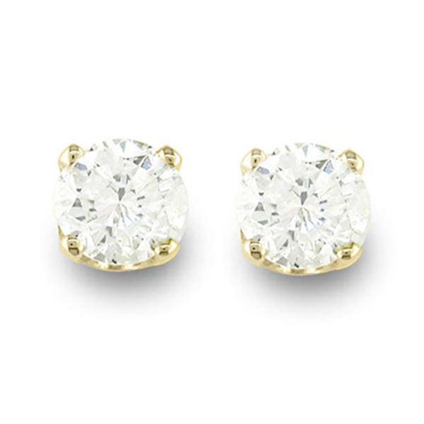 0.25 ctw Certified VS/SI Diamond Stud Earrings 14k Yellow Gold - REF-15N3F