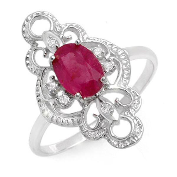 1.35 ctw Ruby & Diamond Ring 10k White Gold - REF-19G3W