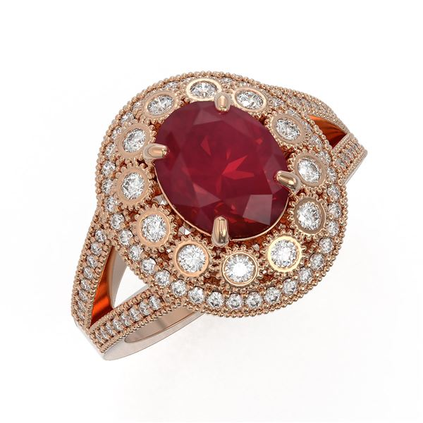 4.55 ctw Certified Ruby & Diamond Victorian Ring 14K Rose Gold - REF-143A6N