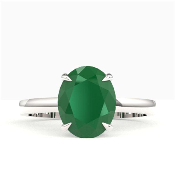 3.50 ctw Emerald Designer Solitaire Ring 18k White Gold - REF-34R3K
