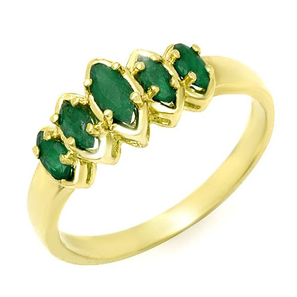 0.50 ctw Emerald Ring 10k Yellow Gold - REF-11X9A