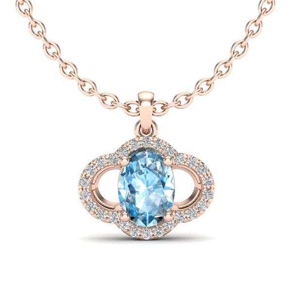 2 ctw Sky Blue Topaz & Micro Pave VS/SI Diamond Necklace 10k Rose Gold - REF-22N5F