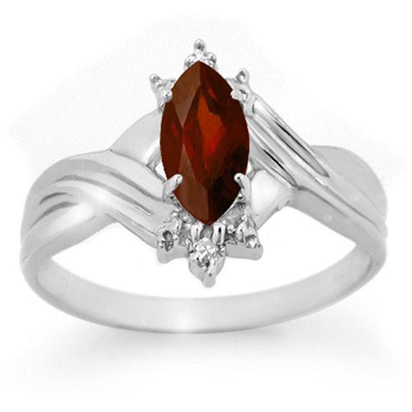0.51 ctw Garnet & Diamond Ring 10k White Gold - REF-9N5F